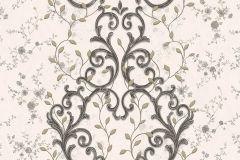 7117 cikkszámú tapéta.Barokk-klasszikus,különleges motívumos,textil hatású,textilmintás,virágmintás,fekete,sárga,vajszínű,súrolható,vlies tapéta