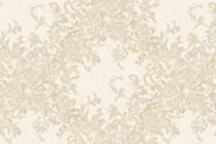 7130 cikkszámú tapéta.Absztrakt,barokk-klasszikus,különleges motívumos,természeti mintás,textilmintás,virágmintás,arany,fehér,vajszínű,súrolható,vlies tapéta