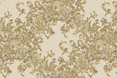 7137 cikkszámú tapéta.Absztrakt,barokk-klasszikus,különleges motívumos,természeti mintás,textil hatású,textilmintás,virágmintás,arany,bézs-drapp,vajszínű,súrolható,vlies tapéta