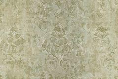 9325 cikkszámú tapéta.Barokk-klasszikus,különleges felületű,virágmintás,vajszín,zöld,súrolható,vlies tapéta