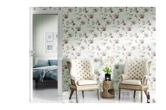 5002 cikkszámú tapéta.Barokk-klasszikus,virágmintás,bézs-drapp,fehér,pink-rózsaszín,zöld,súrolható,vlies tapéta