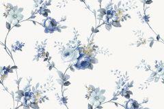 5003 cikkszámú tapéta.Barokk-klasszikus,virágmintás,fehér,kék,súrolható,vlies tapéta