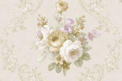 5014 cikkszámú tapéta.Barokk-klasszikus,virágmintás,arany,bézs-drapp,fehér,lila,zöld,súrolható,vlies tapéta
