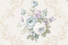 5016 cikkszámú tapéta.Barokk-klasszikus,virágmintás,bézs-drapp,fehér,kék,lila,zöld,súrolható,vlies tapéta