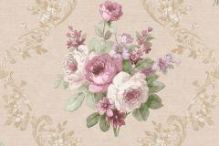 5018 cikkszámú tapéta.Barokk-klasszikus,virágmintás,bézs-drapp,fehér,pink-rózsaszín,zöld,súrolható,vlies tapéta