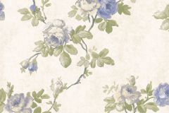 5027 cikkszámú tapéta.Barokk-klasszikus,virágmintás,kék,szürke,vajszín,zöld,súrolható,vlies tapéta