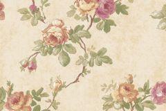 5028 cikkszámú tapéta.Barokk-klasszikus,virágmintás,barna,bézs-drapp,pink-rózsaszín,sárga,zöld,súrolható,vlies tapéta