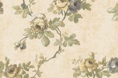 5029 cikkszámú tapéta.Barokk-klasszikus,virágmintás,bézs-drapp,szürke,vajszín,zöld,súrolható,vlies tapéta