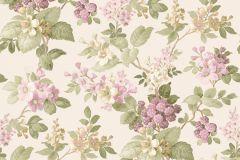 5034 cikkszámú tapéta.Barokk-klasszikus,virágmintás,barna,bézs-drapp,lila,zöld,súrolható,vlies tapéta