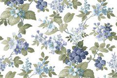 5036 cikkszámú tapéta.Barokk-klasszikus,virágmintás,fehér,kék,szürke,zöld,súrolható,vlies tapéta
