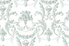 5061 cikkszámú tapéta.Barokk-klasszikus,virágmintás,fehér,kék,szürke,súrolható,vlies tapéta