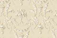 5062 cikkszámú tapéta.Barokk-klasszikus,virágmintás,bézs-drapp,fehér,súrolható,vlies tapéta