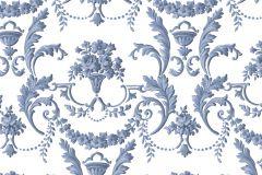 5063 cikkszámú tapéta.Barokk-klasszikus,virágmintás,fehér,kék,súrolható,vlies tapéta