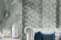 3029 cikkszámú tapéta.Barokk-klasszikus,arany,kék,szürke,türkiz,súrolható,vlies tapéta
