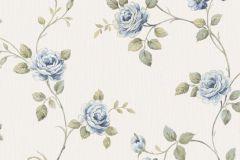 3046 cikkszámú tapéta.Barokk-klasszikus,virágmintás,bézs-drapp,kék,zöld,súrolható,vlies tapéta