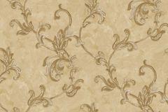 4407 cikkszámú tapéta.Barokk-klasszikus,textil hatású,virágmintás,arany,barna,bézs-drapp,súrolható,vlies tapéta