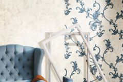 4408 cikkszámú tapéta.Barokk-klasszikus,textil hatású,virágmintás,kék,szürke,súrolható,vlies tapéta
