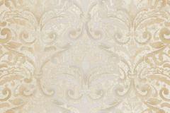 4422 cikkszámú tapéta.Barokk-klasszikus,textil hatású,barna,bézs-drapp,ezüst,szürke,súrolható,vlies tapéta