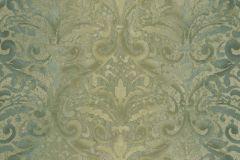 4425 cikkszámú tapéta.Barokk-klasszikus,textil hatású,arany,zöld,súrolható,vlies tapéta