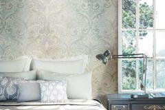 4426 cikkszámú tapéta.Barokk-klasszikus,textil hatású,ezüst,kék,szürke,súrolható,vlies tapéta