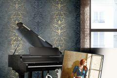4427 cikkszámú tapéta.Barokk-klasszikus,textil hatású,arany,lila,súrolható,vlies tapéta