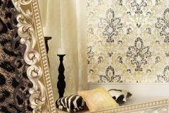 5841 cikkszámú tapéta.Absztrakt,barokk-klasszikus,különleges felületű,természeti mintás,textil hatású,textilmintás,virágmintás,arany,fehér,fekete,vajszín,súrolható,vlies tapéta