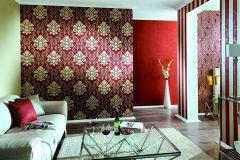 13343-80 cikkszámú tapéta.Barokk-klasszikus,csillámos,arany,piros-bordó,lemosható,vlies tapéta