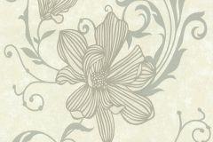 13344-10 cikkszámú tapéta.Csillámos,virágmintás,ezüst,fehér,gyöngyház,szürke,vajszínű,lemosható,illesztés mentes,vlies tapéta