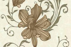 13344-30 cikkszámú tapéta.Csillámos,virágmintás,arany,barna,gyöngyház,vajszínű,lemosható,illesztés mentes,vlies tapéta
