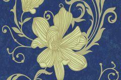 13344-40 cikkszámú tapéta.Csillámos,virágmintás,arany,gyöngyház,kék,lemosható,illesztés mentes,vlies tapéta