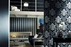 13343-40 cikkszámú tapéta.Barokk-klasszikus,csillámos,fekete,szürke,lemosható,vlies tapéta