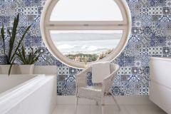 42506-10 cikkszámú tapéta.Konyha-fürdőszobai,különleges felületű,különleges motívumos,fehér,kék,szürke,súrolható,vlies tapéta