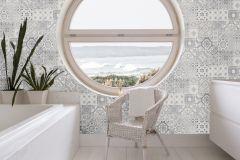42506-40 cikkszámú tapéta.Konyha-fürdőszobai,különleges felületű,különleges motívumos,fehér,szürke,súrolható,vlies tapéta