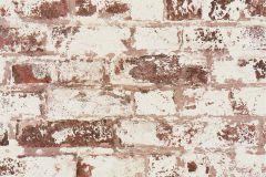 42507-20 cikkszámú tapéta.Kőhatású-kőmintás,különleges felületű,retro,barna,fehér,piros-bordó,súrolható,vlies tapéta