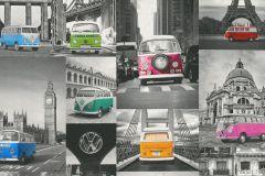 42509-10 cikkszámú tapéta.Fotórealisztikus,különleges felületű,különleges motívumos,retro,kék,narancs-terrakotta,pink-rózsaszín,piros-bordó,szürke,zöld,súrolható,vlies tapéta