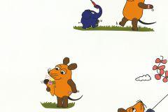 05211-10 cikkszámú tapéta.állatok,gyerek,különleges motívumos,rajzolt,barna,fehér,kék,lila,narancs-terrakotta,piros-bordó,zöld,gyengén mosható,illesztés mentes,papír  tapéta