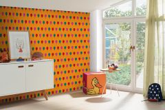 05212-20 cikkszámú tapéta.Gyerek,különleges felületű,rajzolt,narancs-terrakotta,pink-rózsaszín,piros-bordó,gyengén mosható,papír tapéta