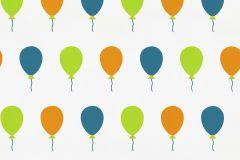 05212-30 cikkszámú tapéta.Gyerek,különleges felületű,rajzolt,fehér,kék,narancs-terrakotta,zöld,gyengén mosható,papír tapéta