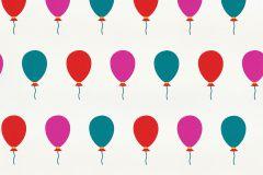 05212-40 cikkszámú tapéta.Gyerek,különleges felületű,különleges motívumos,rajzolt,fehér,pink-rózsaszín,piros-bordó,türkiz,gyengén mosható,papír tapéta