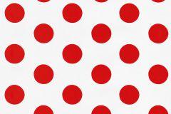 05213-40 cikkszámú tapéta.Gyerek,különleges motívumos,pöttyös,retro,fehér,piros-bordó,gyengén mosható,papír tapéta