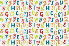 05214-20 cikkszámú tapéta.Feliratos-számos,gyerek,különleges motívumos,rajzolt,fehér,kék,narancs-terrakotta,piros-bordó,zöld,gyengén mosható,papír tapéta