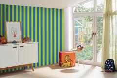 05215-20 cikkszámú tapéta.Csíkos,gyerek,kék,zöld,gyengén mosható,illesztés mentes,papír tapéta