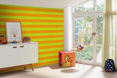 05215-30 cikkszámú tapéta.Csíkos,gyerek,narancs-terrakotta,zöld,gyengén mosható,illesztés mentes,papír tapéta