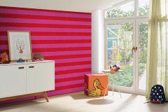 05215-40 cikkszámú tapéta.Csíkos,gyerek,pink-rózsaszín,piros-bordó,gyengén mosható,illesztés mentes,papír tapéta