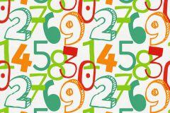 05216-10 cikkszámú tapéta.Gyerek,különleges motívumos,rajzolt,fehér,narancs-terrakotta,piros-bordó,zöld,gyengén mosható,papír tapéta