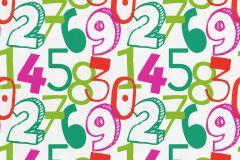 05216-20 cikkszámú tapéta.Feliratos-számos,gyerek,különleges motívumos,rajzolt,fehér,narancs-terrakotta,pink-rózsaszín,piros-bordó,zöld,gyengén mosható,papír tapéta