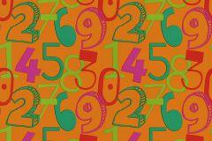 05216-40 cikkszámú tapéta.Feliratos-számos,gyerek,különleges motívumos,rajzolt,narancs-terrakotta,pink-rózsaszín,piros-bordó,zöld,gyengén mosható,papír tapéta