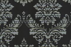 13373-14 cikkszámú tapéta.Absztrakt,barokk-klasszikus,csíkos,különleges motívumos,textil hatású,ezüst,fekete,szürke,zöld,lemosható,vlies tapéta