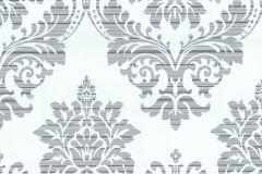13373-24 cikkszámú tapéta.Absztrakt,barokk-klasszikus,csíkos,különleges felületű,különleges motívumos,textil hatású,ezüst,fehér,szürke,lemosható,vlies tapéta
