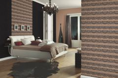 13379-14 cikkszámú tapéta.Csipke,dekor tapéta ,különleges felületű,különleges motívumos,textil hatású,barna,fekete,lemosható,illesztés mentes,vlies tapéta